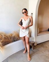 dress,mini dress,white dress,sleeveless dress,flat sandals,bag