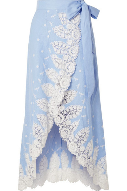 Miguelina - Clarice Crochet-trimmed Linen Wrap Skirt - Light blue