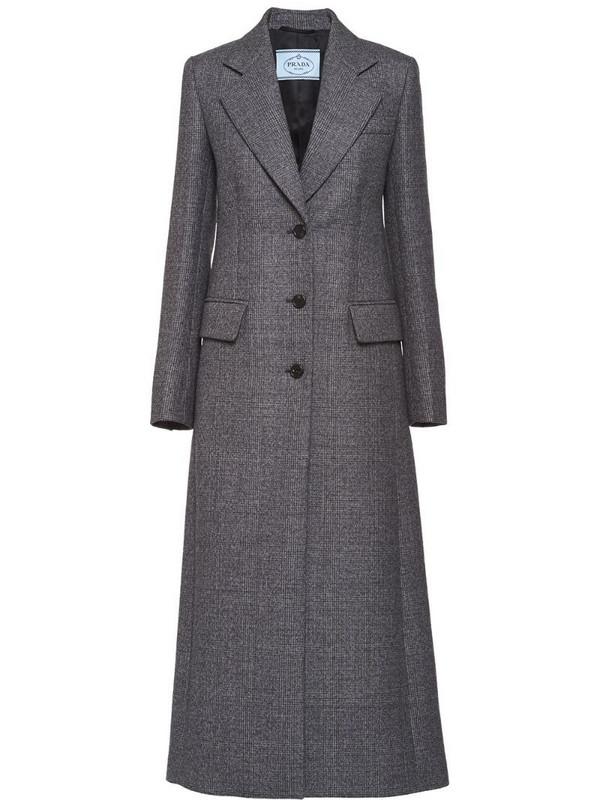 Prada plaid single-breasted coat in grey