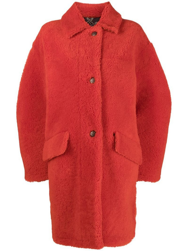 Mr & Mrs Italy oversized shearling coat in orange
