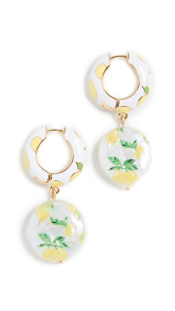 BaubleBar Lemon Huggie Drop Earrings in print