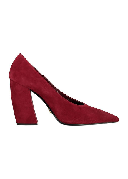 Prada Suede Ponty-toe Pumps in burgundy