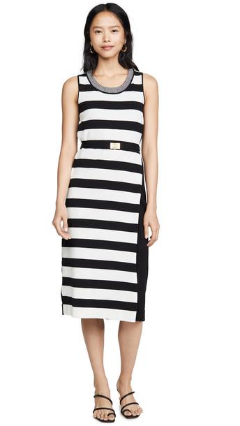 Tory Burch Pieced Stripe Tank Dress in black / ivory