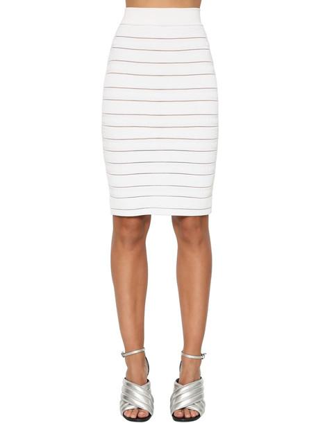BALMAIN High Waist Stretch Knit Pencil Skirt in white