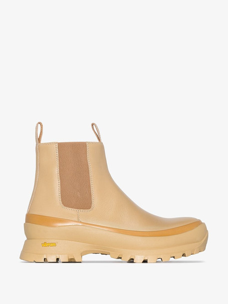 Jil Sander Beige chunky leather ankle boots