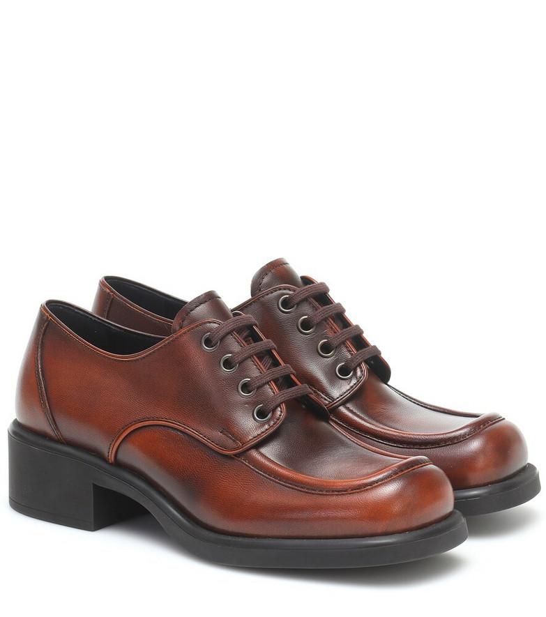 Miu Miu Leather Derby shoes in brown