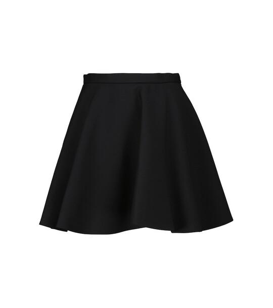 Valentino High-rise wool and silk miniskirt in black