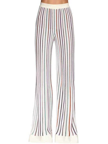 MISSONI Stretch Knit Wide Leg Pants in white / multi