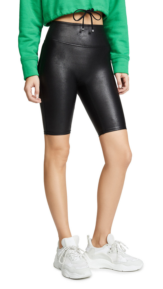 SPANX Faux Leather Bike Shorts in black