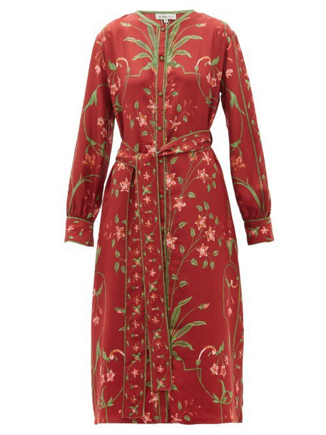 D'ascoli - Belted Floral Print Silk Twill Dress - Womens - Red Multi