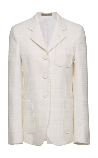 Bottega Veneta Wool-Blend Tweed Blazer in white