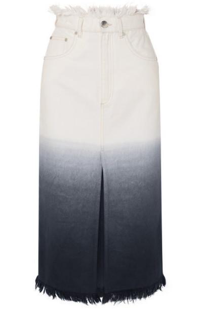 House of Holland - Frayed Ombré Denim Midi Skirt - White