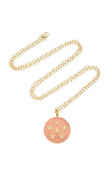 Andrea Fohrman Full Moon Enamel Phase Necklace in pink