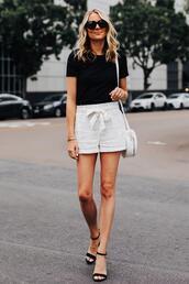 fashionjackson,blogger,t-shirt,shorts,bag,shoes,sunglasses,white shorts,High waisted shorts,black sandals,white bag,round bag,black t-shirt
