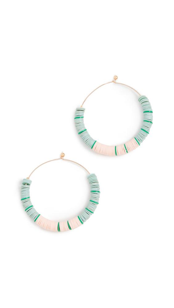 Maison Monik Ate Beaded Hoop Earrings in mint