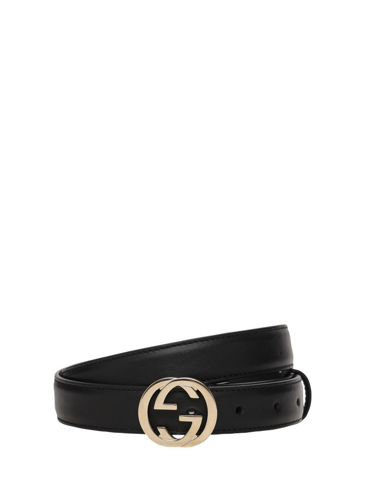 GUCCI 25mm Leather Gg Belt in black