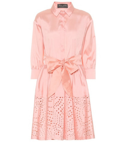 Monique Lhuillier Broderie anglaise satin shirt dress in pink