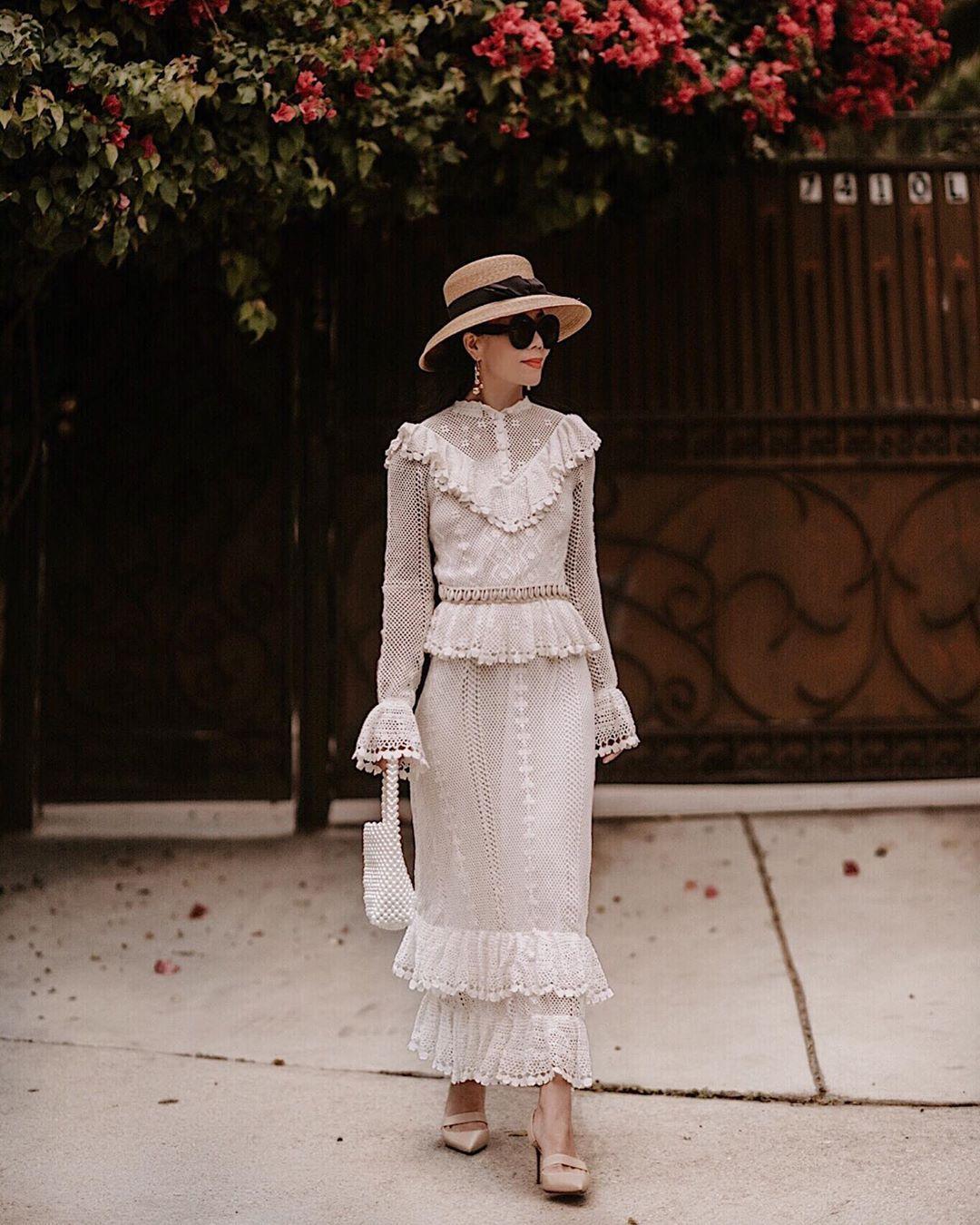 dress maxi dress zimmermann ruffle dress mules white bag hat
