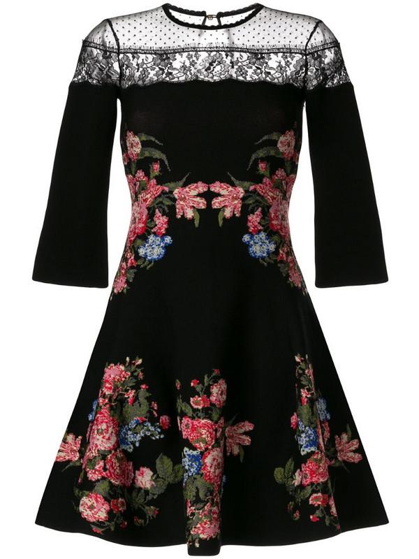 Ingie Paris floral flared mini dress in black