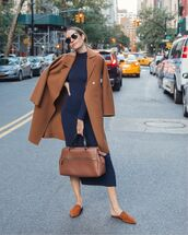 dress,turtleneck dress,jersey dress,midi dress,mules,brown bag,handbag,brown coat
