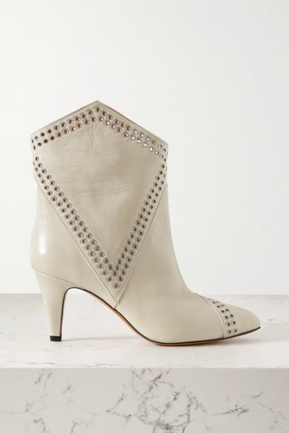 Isabel Marant - Demka Eyelet-embellished Textured-leather Ankle Boots - White