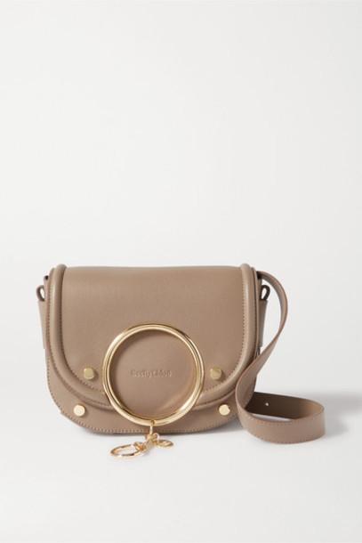 See By Chloé See By Chloé - Mara Embellished Leather Shoulder Bag - Mushroom