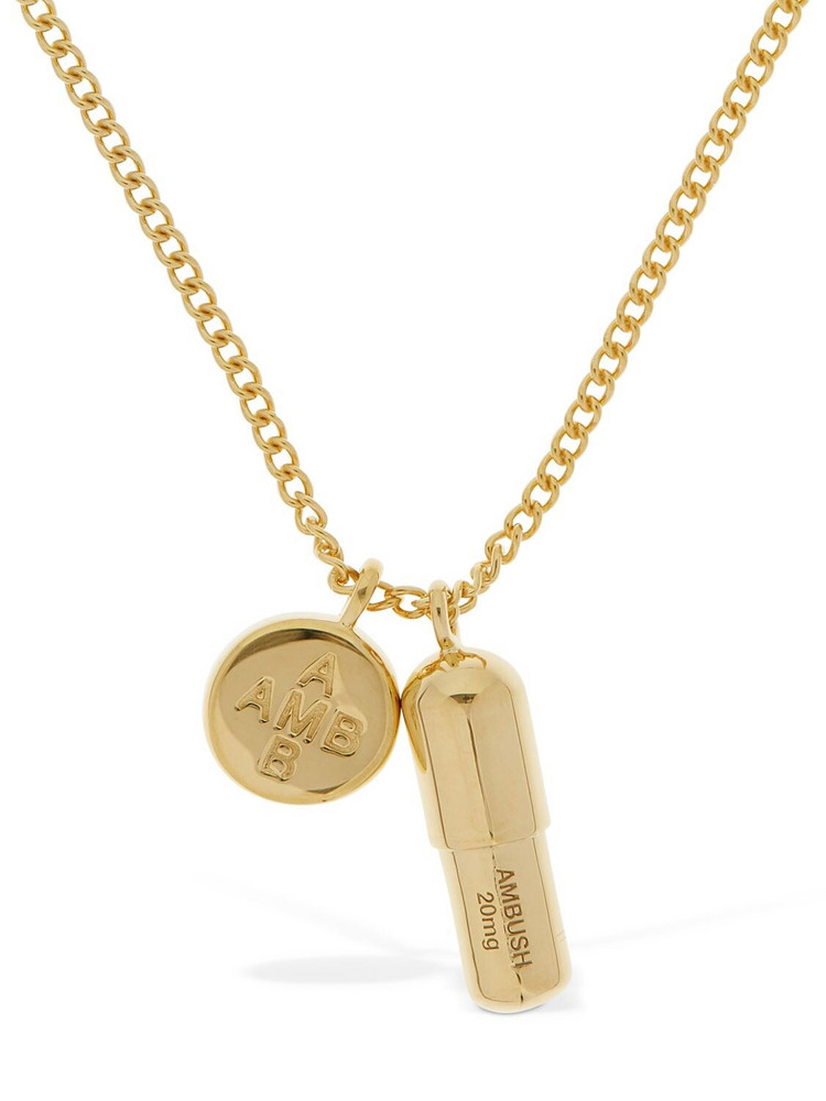 AMBUSH Pill Charm Long Necklace in gold