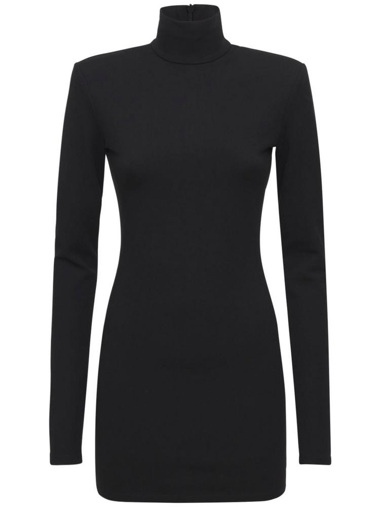THE ANDAMANE Hilda Jersey Turtleneck Mini Dress in black