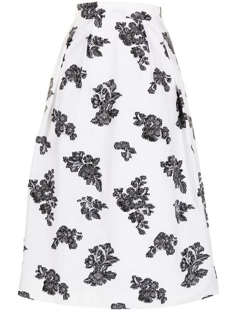 Erdem Reed floral-print midi skirt in white