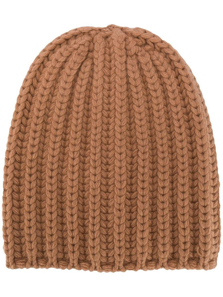 Agnona ribbed knit beanie in neutrals