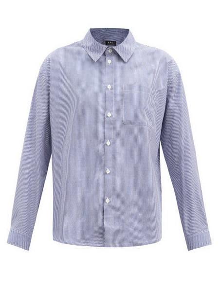 A.P.C. A.P.C. - Boyfriend Striped Cotton Shirt - Womens - Light Blue