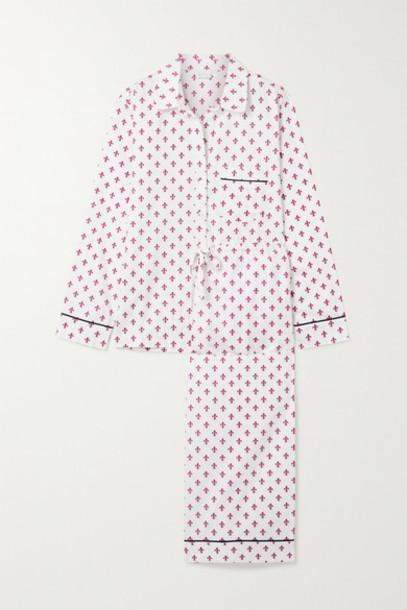 Pour Les Femmes - Printed Cotton-sateen Pajama Set - White