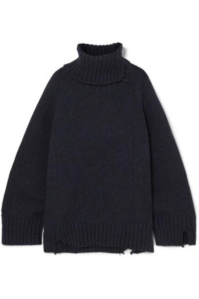 Maison Margiela - Oversized Distressed Mélange Wool Turtleneck Sweater - Navy