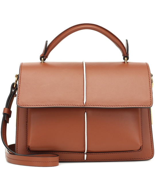 Marni Attache' leather shoulder bag in brown