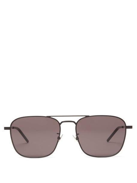 Saint Laurent - Aviator Metal Sunglasses - Womens - Black