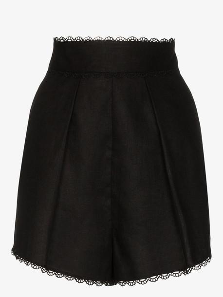 Zimmermann Kirra trim linen shorts in black