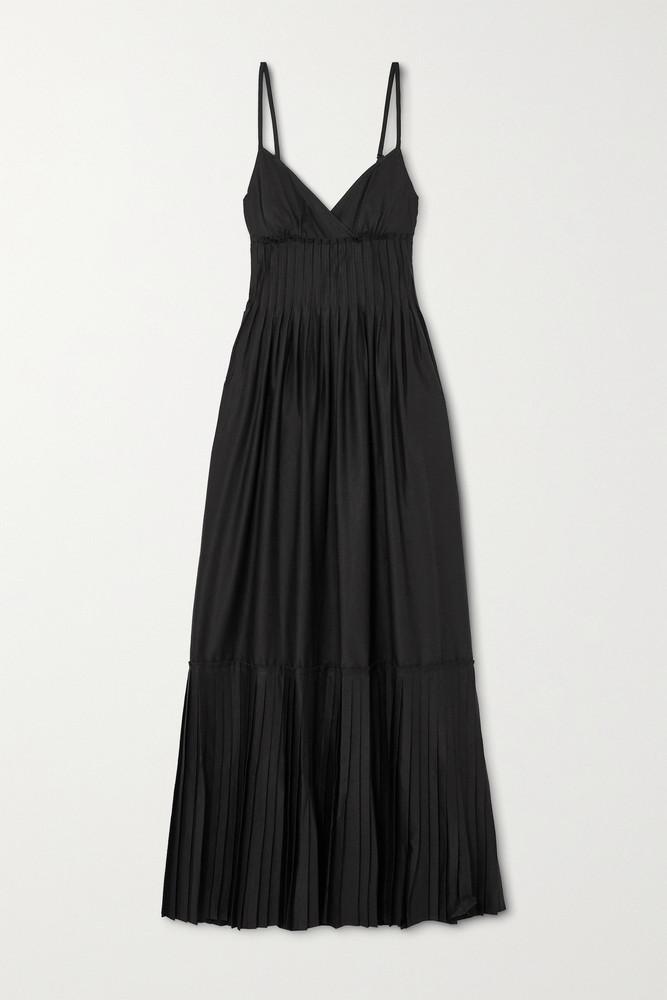 A.L.C. A.L.C. - A.l.c. X Petra Flannery Esdell Pleated Cotton-blend Poplin Maxi Dress - Black
