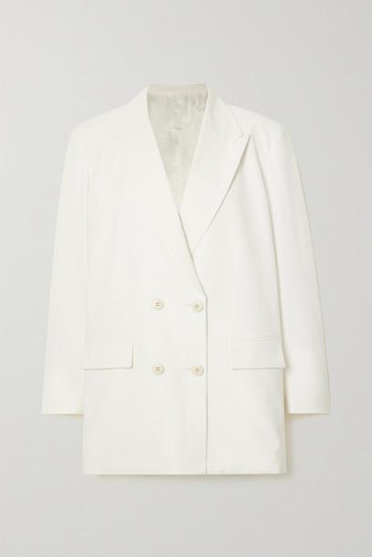 VALENTINO - Oversized Double-breasted Twill Blazer - White