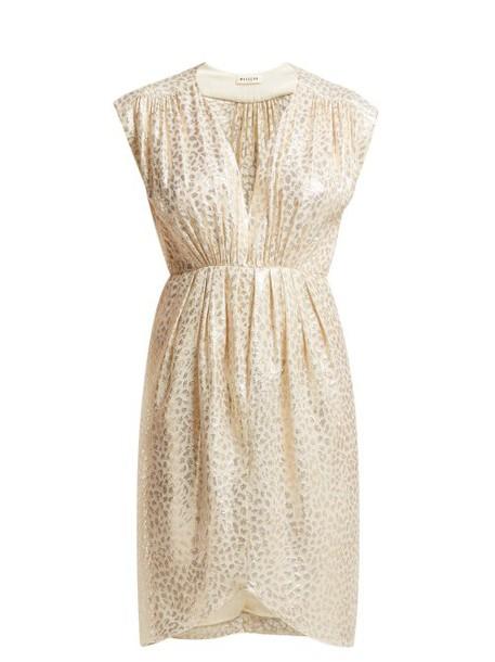 Masscob - Troya Silk Blend Brocade Midi Dress - Womens - Gold