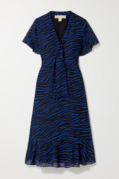 MICHAEL Michael Kors - Pussy-bow Ruffled Zebra-print Georgette Midi Dress - Royal blue