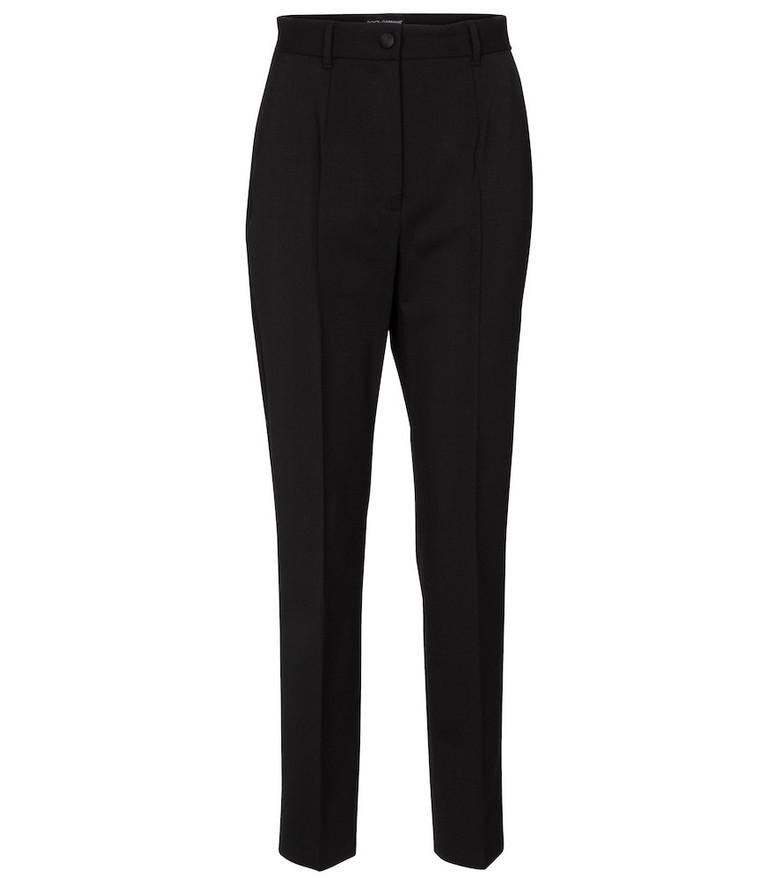 Dolce & Gabbana High-rise slim wool pants in black