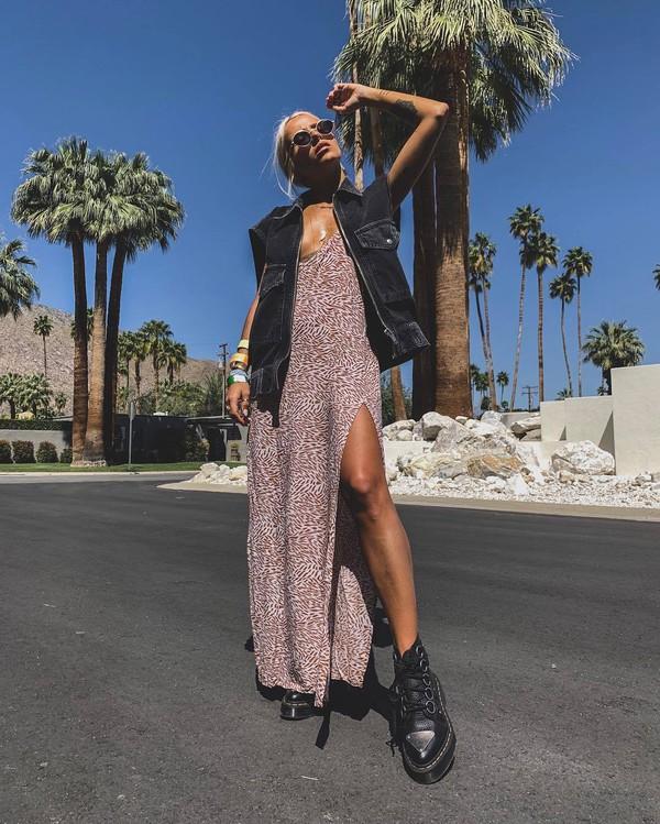 dress maxi dress slit dress sleeveless dress black boots ankle boots vest denim vest