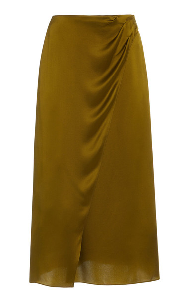 Vince Silk-Satin Wrap Skirt in green