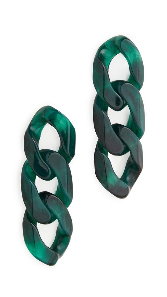 BaubleBar Mirador Link Drop Earrings in gold / green