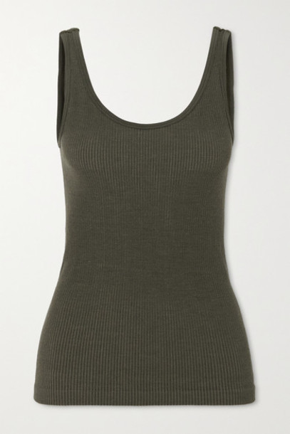 Nagnata - Space For Giants Avika Ribbed Technical Stretch-knit Tank - Army green