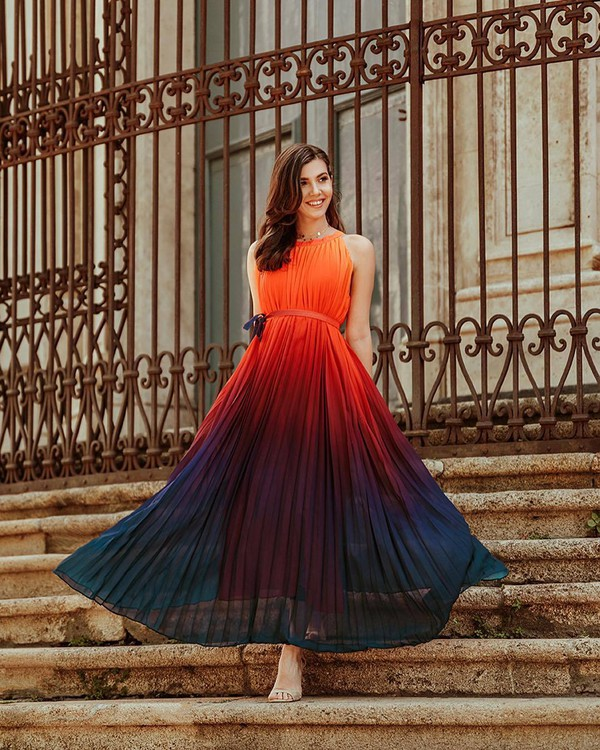 dress pleated dress sleeveless dress maxi dress elegant dress ombre dress sandals belted dress