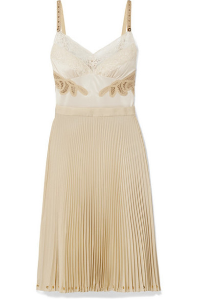 Burberry - Lace And Leather-trimmed Satin And Pleated Crepe De Chine Dress - Beige