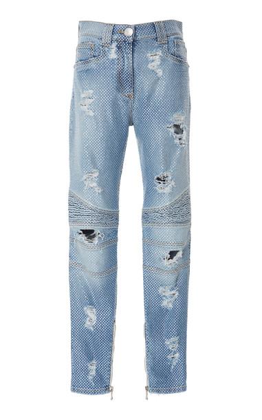 Balmain High-Rise Straight-Leg Biker Jeans Size: 40