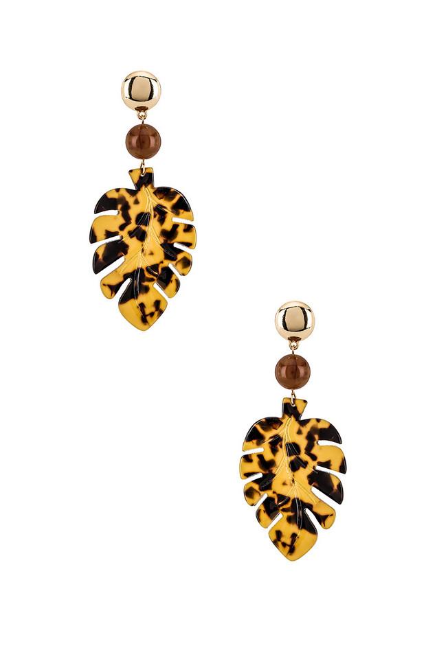 Ettika Leaf Earrings in brown