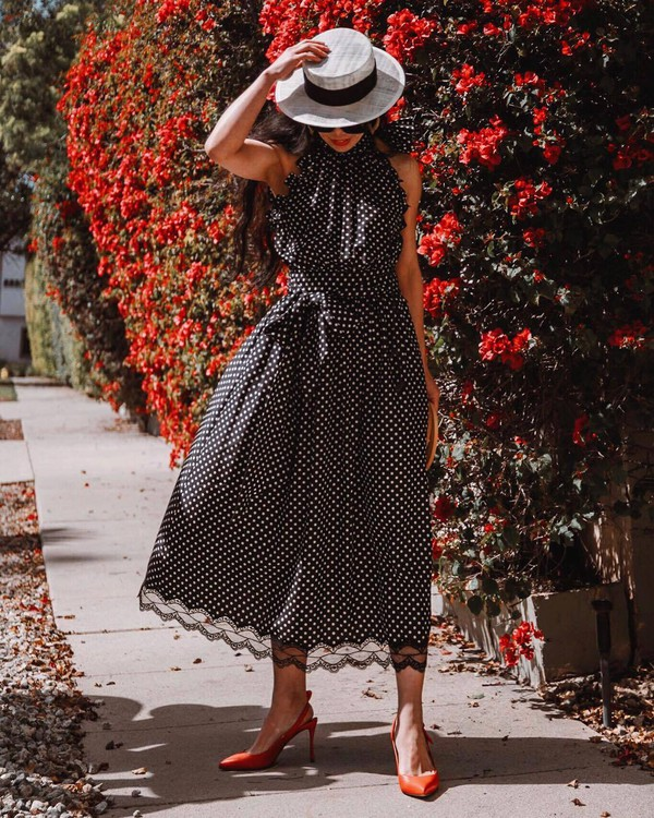 dress midi dress marc jacobs polka dots slingbacks hat